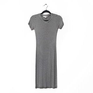 Black and White Stripe Cap Sleeve Midi Dress